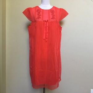 VINTAGE 60s GAYMODE red sheer embroidered gown M